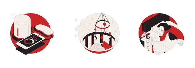 Träume schlafen satz von drei isolierten runden illustration