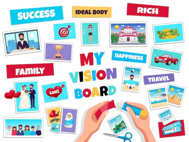 Träume vision board-konzept mit erfolg und reise, flache isolierte vektorillustration