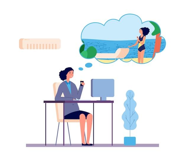 Träumende frau. büromädchen träumt vom strandferienvektorkonzept. illustrationsbüromädchen träumen vom strand
