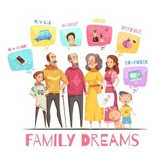 Träumendes konzept des entwurfes der familie mit ikonen von großen familienmitgliedern und ihrer karikaturvektorillustration der dekorativen bilder der träume flache