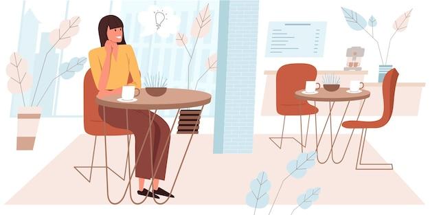 Träumendes menschenkonzept im flachen design. glückliche frau sitzt am tisch im café, trinkt kaffee, träumt und kommt auf ideen. junges mädchen in der cafeteria. fantasie-menschen-szene. vektor-illustration