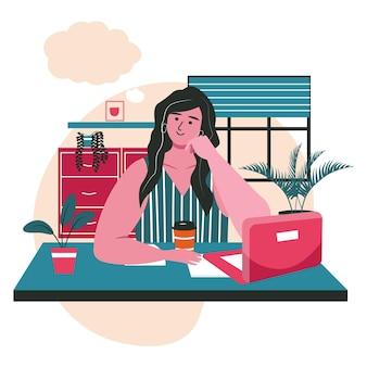 Träumendes menschenszenenkonzept. frau sitzt am schreibtisch und träumt mit leerer blase über dem kopf. phantasie, entspannung, tagträumen menschen aktivitäten. vektor-illustration von charakteren im flachen design
