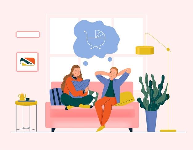 Träumendes paarkonzept mit flacher illustration der familien- und babysymbole