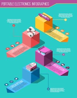 Tragbare elektronik isometrische infografiken
