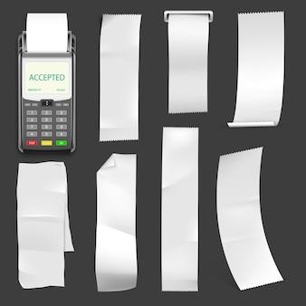 Tragbare pos-terminal-vorlage mit blankoschecks. elektronisches gerät zum drucken von papierschecks.