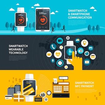 Tragbare smartwatch-funktionen im flachen banner-design