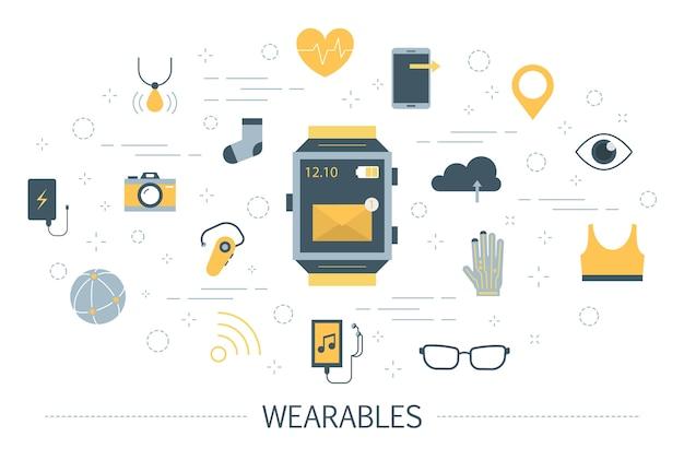 Tragbare technologie für eine illustration im gesundheitswesen und in der kommunikation