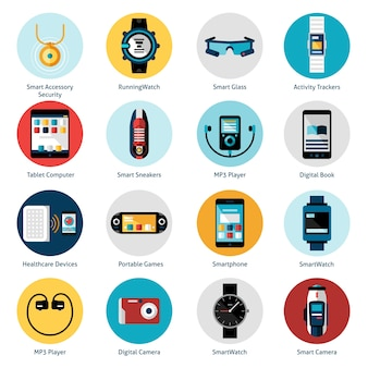 Tragbare technologie icons