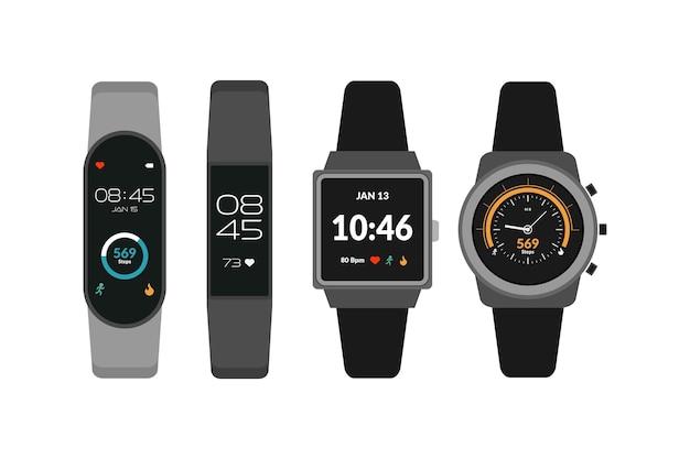 Tragbare technologie, smartwatch-sammlung, fitness-aktivitäts-tracker