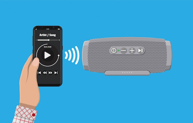 Tragbarer drahtloser lautsprecher. smartphone