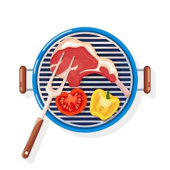 Tragbarer runder grill mit grillrippen, rindersteak und gemüse auf weißem hintergrund. grillgerät für picknick, familienfeier. grill-symbol. cookout-event. illustration