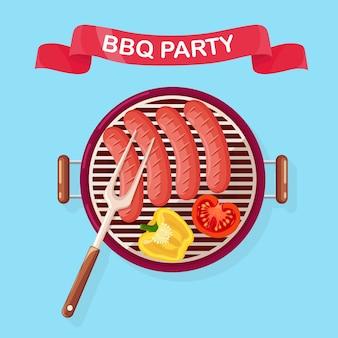 Tragbarer runder grill mit grillwurst, grillgerät mit gebratenem gemüse für picknick, familienfeier. grill-symbol. cookout-event-konzept.