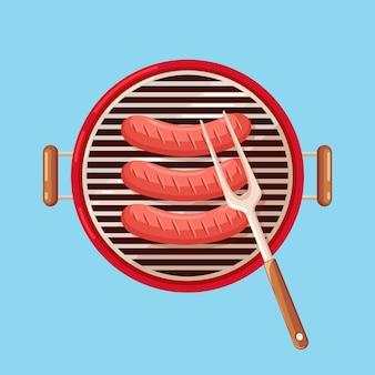 Tragbarer runder grill mit heißer grillwurst.