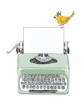 Tragbarer schreibmaschine und gelber gezeichneter vektor des vogels hand