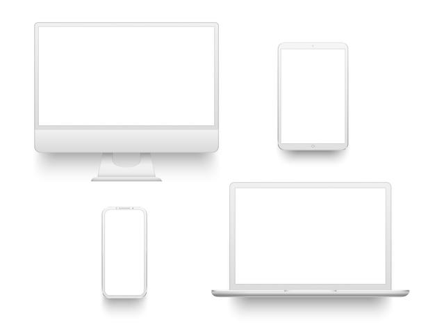 Tragbares notizbuch oder laptop weißer tischrechnerbildschirm smartphone-tablette
