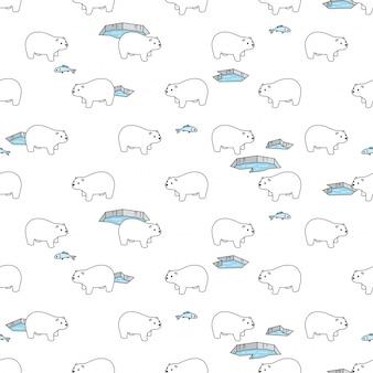 Tragen nahtlose muster polare eisberg illustration cartoon