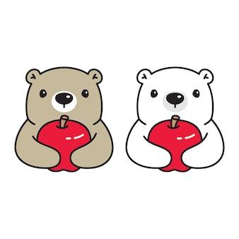 Tragen polare apfel-zeichentrickfigur