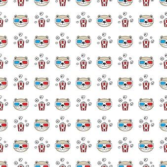 Tragen polare nahtlose muster 3d brille popcorn teddy cartoon