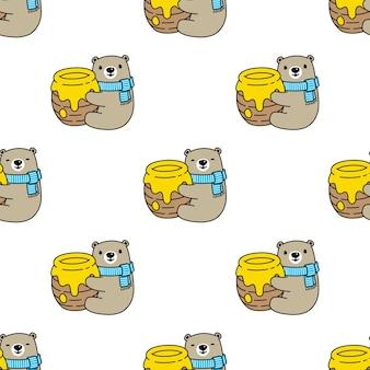 Tragen polare nahtlose muster honig teddy Premium Vektoren