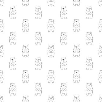 Tragen polare nahtlose muster teddy cartoon illustration Premium Vektoren