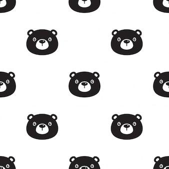 Tragen polare nahtlose muster teddy illustration