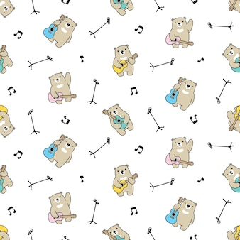 Tragen polare nahtlose mustergitarre teddy cartoon illustration Premium Vektoren