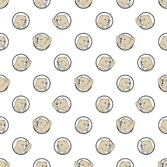 Tragen polare nahtlose musterkarikaturillustration Premium Vektoren