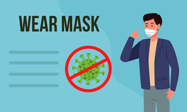 Tragen sie die maske covid19-präventionskampagne mit einem mann, der eine medizinische maske verwendet