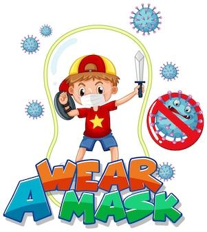 Tragen sie ein maskenschriftdesign mit einem jungen, der eine medizinische maske auf weißem hintergrund trägt