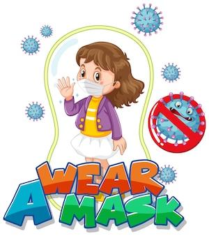 Tragen sie ein maskenschriftdesign mit einem mädchen, das eine medizinische maske auf weißem hintergrund trägt