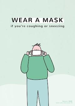 Tragen sie eine maske coronavirus-pandemie poster vorlage quelle who source