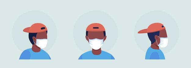Tragen sie eine maske ohne falten, die einen halbflachen farbvektorzeichen-avatarsatz enthält. porträt mit atemschutzmaske in vorder- und seitenansicht. isolierte moderne cartoon-stil-illustration für grafikdesign und animationspaket