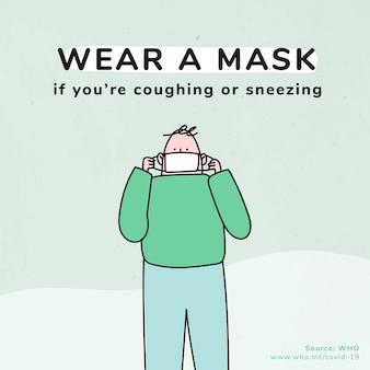 Tragen sie eine maske sozialer vorlagen für eine coronavirus-pandemie quelle who