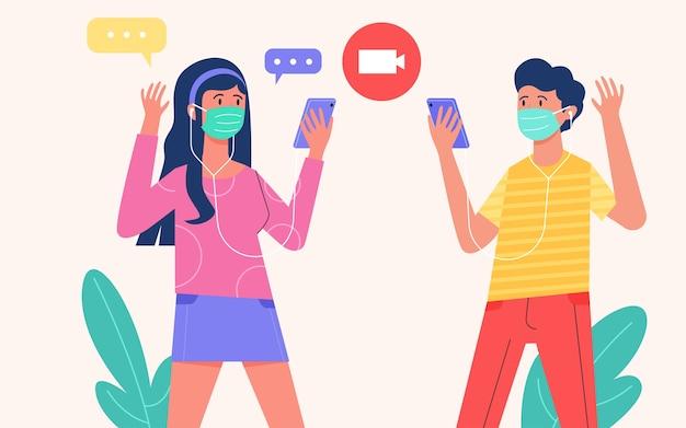Tragen sie eine maske, um die verbreitung des virus zu vermeiden, und tragen sie eine maske im freien mit flachem illustrationsdesign