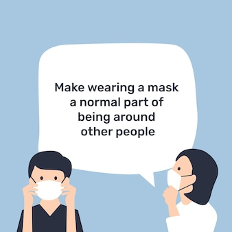 Tragen sie eine maskenvorlage, bleiben sie in der neuen normalität sicher