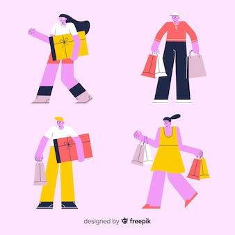 Tragende einkaufstaschensammlung der leute