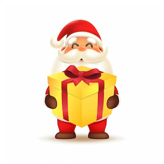 Tragende geschenkbox netten weihnachtsmanns