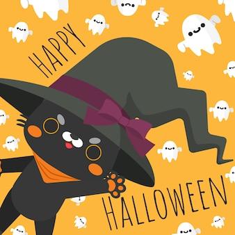 Tragende hexe der glücklichen halloween-katze kostümiert.