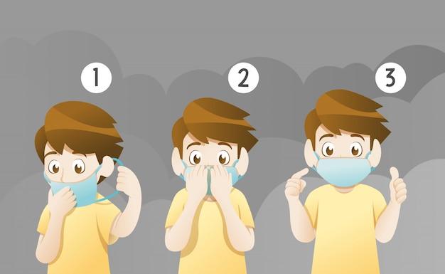 Tragende maske des jungen für schützen verschmutzung