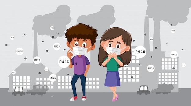 Tragende maske des jungen und des mädchens in der stadt mit luftverschmutzung