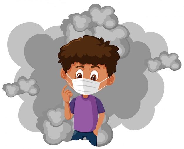 Tragende maske des jungen und schmutziger rauch