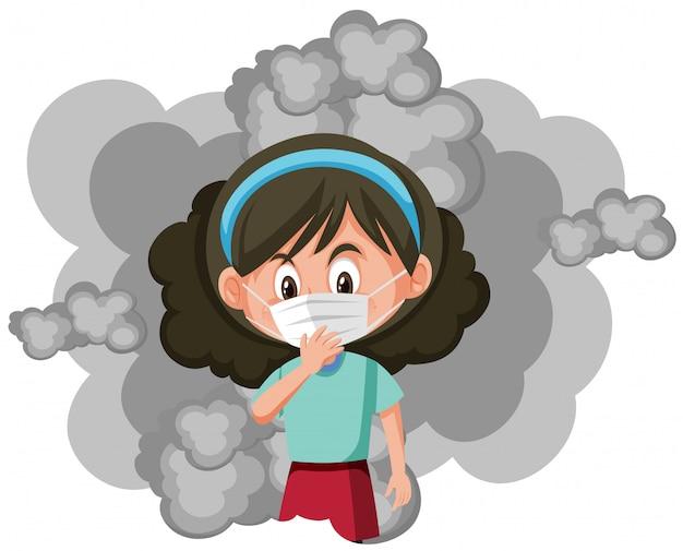 Tragende maske des mädchens, die im rauche steht