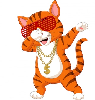 Tragende sonnenbrille, hut und goldhalskette der lustigen katze, die karikatur betupft