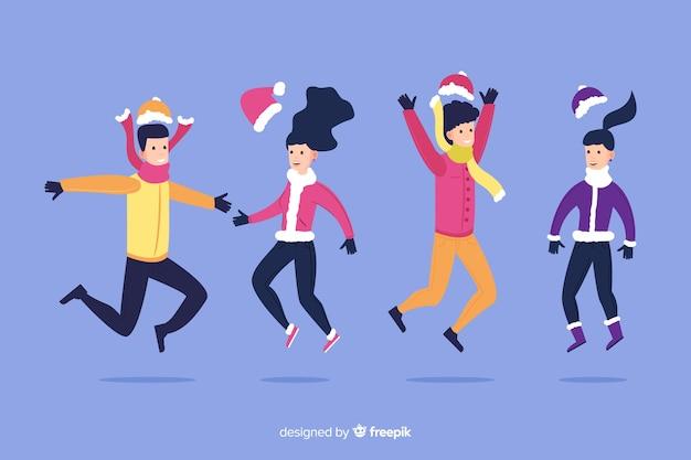 Tragende winterkleidung der karikatur mit schatten