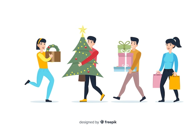 Tragende winterkleidung der karikatur und kaufende geschenke