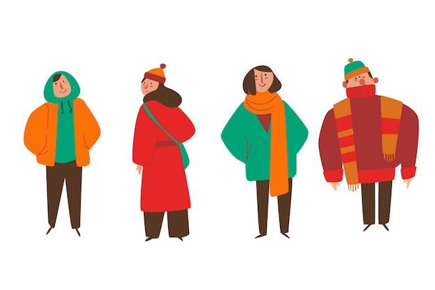 Tragende winterkleidung der karikatur und schauen lustig