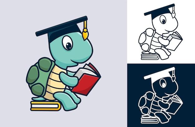 Tragender abschlusshut der lustigen schildkröte, der auf buch beim lesen des buches sitzt. cartoon-illustration im flachen icon-stil