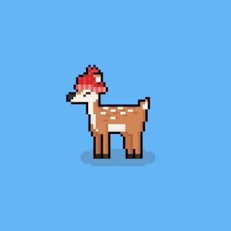 Tragender bobble-hat-charakter der pixelkunst-karikaturrotwild. 8 bit. herbst.