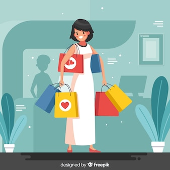 Tragender einkaufstaschehintergrund des mädchens