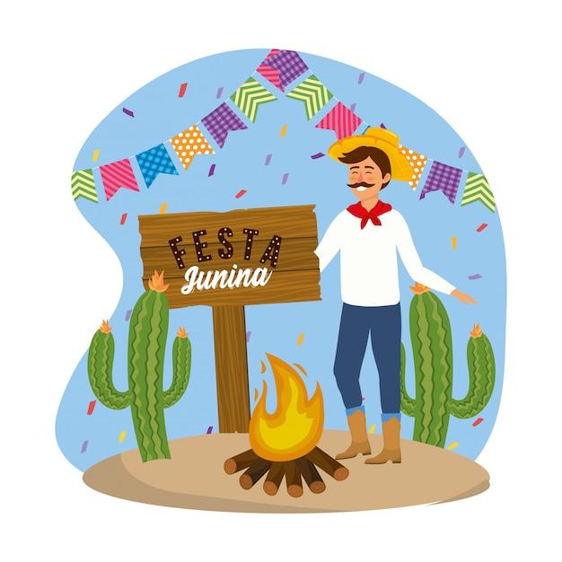 Tragender hut des mannes mit brennholz
